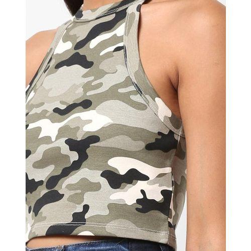 TALLY WEiJL Camouflage Print Crop Top with Halter Neck