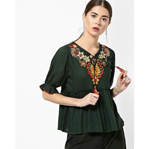 Rena Love Round-Neck Top with Floral Embroidery