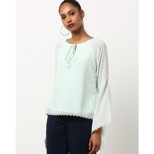 Rare Tie-Up Top with Flounce Sleeves