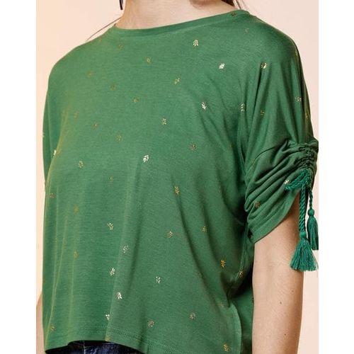 AJIO Leaf Print Top with Adjustable Ruched Sleeves