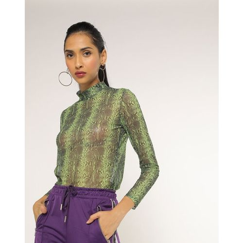 TALLY WEiJL Snake Print Turtle-Neck Top