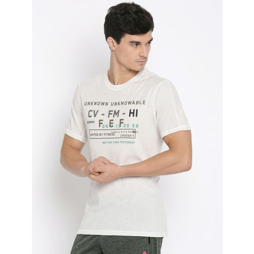 Reebok Men White Printed Round Neck T-shirt