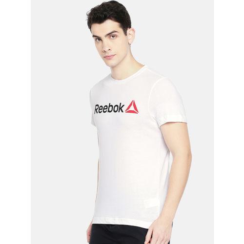 Reebok Men White Printed QQR Linear Read T-shirt
