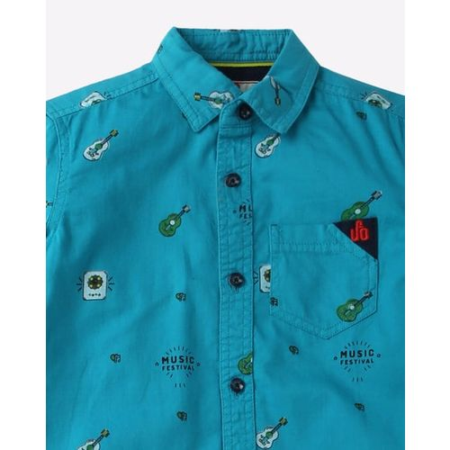UFO Printed Shirt with Patch Pocket