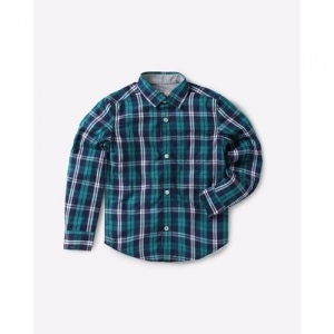 UFO Checked Spread-Collar Shirt with Patch Pocket