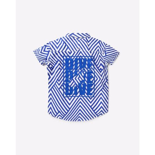 UFO Geometric Print Spread-Collar Shirt with Welt Pocket