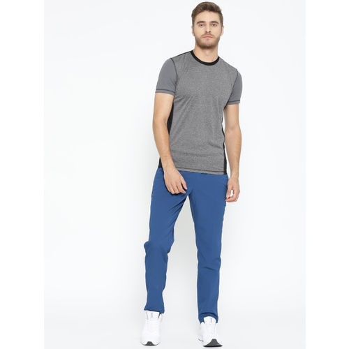 Reebok Men Grey Melange Style Solid Round Neck Training T-shirt