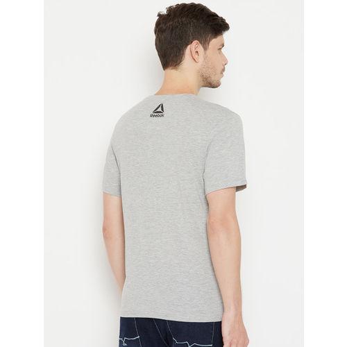 Reebok Men Grey Melange Printed Round Neck T-shirt