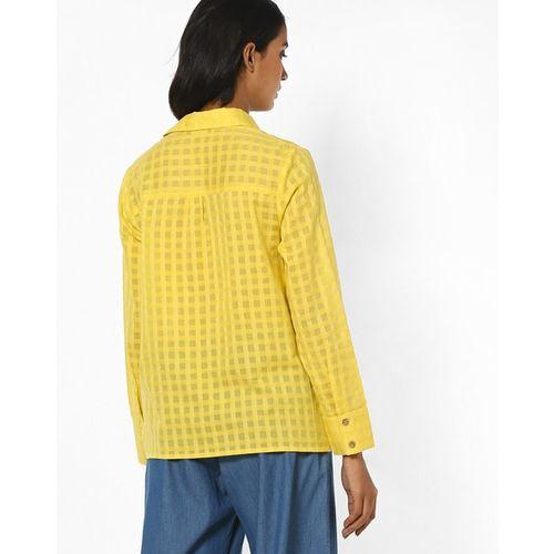 AJIO Checked Shirt with Cinched Hemline