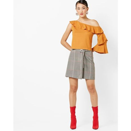 AJIO Ribbed One-Shoulder Top with Ruffled Overlay