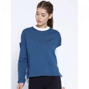 Reebok Classic Women Blue & White ES FT Crew Neck Solid Sweatshirt