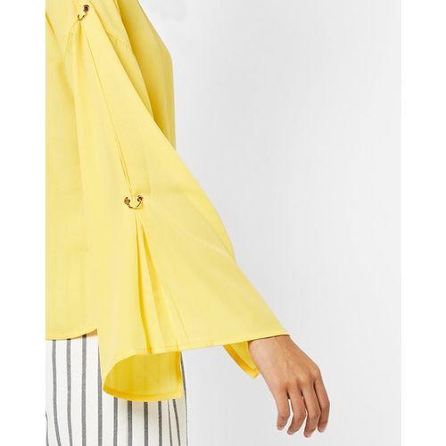 AJIO Top with Drop-Shoulder Split Sleeves