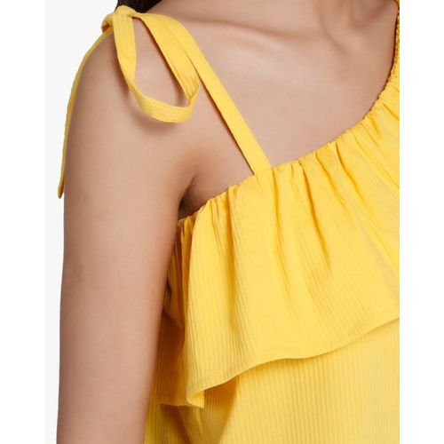 Vero Moda Ribbed One-Shoulder Top with Ruffled Overlay