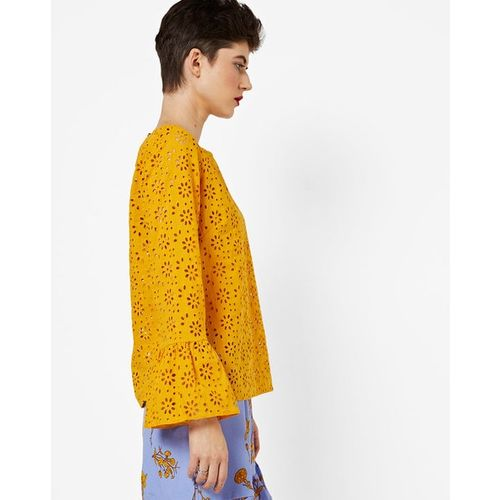 Closet London Laser-Cut Cotton Top with Bell Sleeves