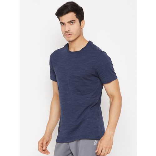 Reebok Men Navy Blue Solid Essentials Marble Group Training T-shirt