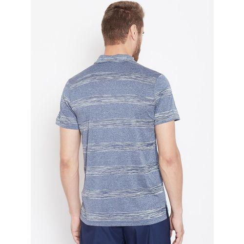 Reebok Men Navy Blue & Grey Striped Printed Training T-shirt