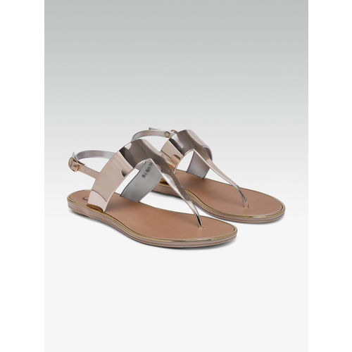 Carlton London Women Rose Gold Solid T-Strap Flats