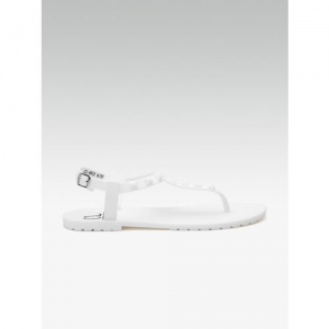 Carlton London White Textured Open Toe Flats