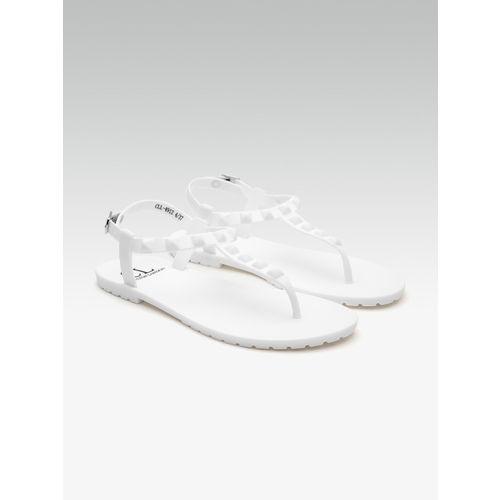 Carlton London White Textured Open Toe Flats