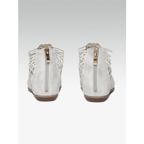 Carlton London Women White Solid Mid-Top Open Toe Flats