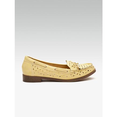 Carlton London Women Mustard Yellow Cut-Out Loafers