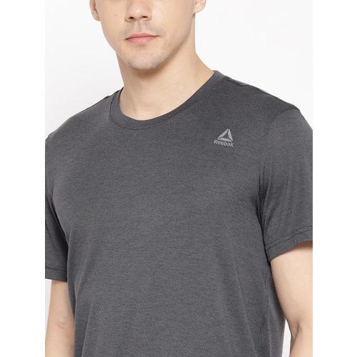 Reebok Men Charcoal Grey Solid Hustle Training T-Shirt