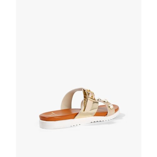 Carlton London Strappy Flat Sandals with Pearl Embellishment