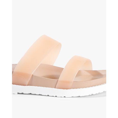 Carlton London Pink Dual Strap Flat Sandals