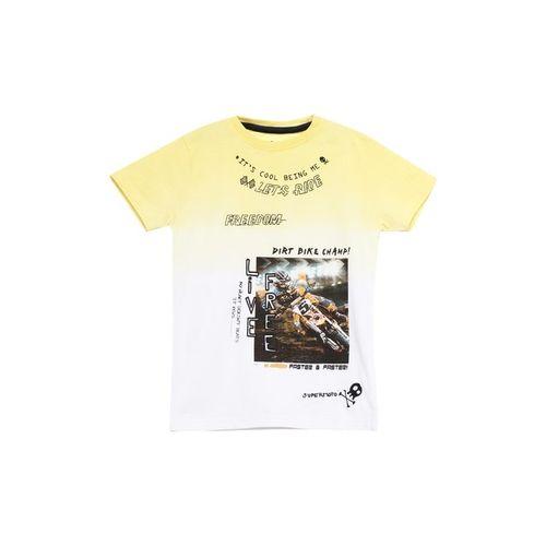 UFO Kids Yellow & White Printed T-Shirt