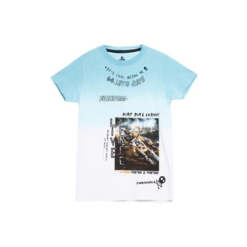 UFO Kids Blue & White Printed T-Shirt