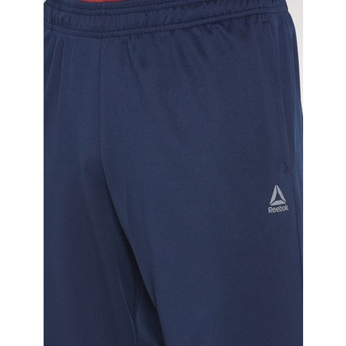 Reebok Men Navy Solid Foundation Poly Training Track Pants