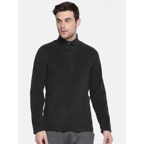 Reebok Men Black Solid OD FLC Q ZIP Sweatshirt