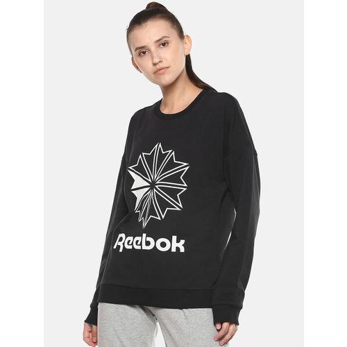 Reebok Classic Women Black & White French Terry Big Logo Print Sweatshirt