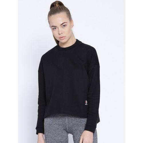 Reebok Classic Women Black ES FT Crew Neck Solid Sweatshirt