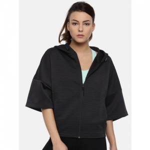 Reebok Women Black Solid THERMOWARM Hooded Training Sweatshirt