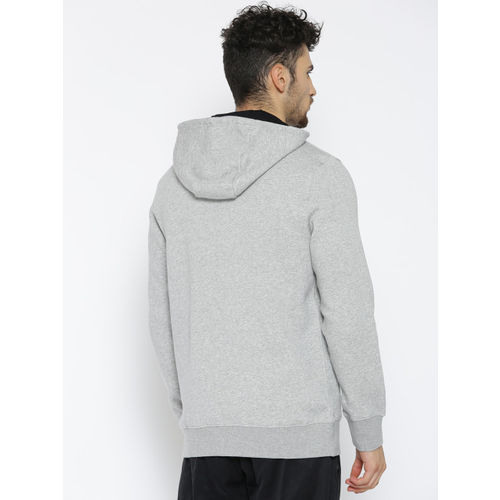Reebok Men Grey Melange FON BAS Solid Hooded Sweatshirt
