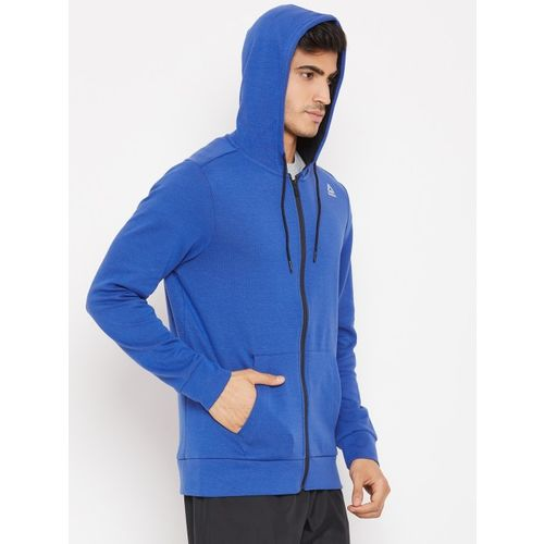 Reebok Men Blue Solid WOR MEL Double Knit FZ Hooded Sweatshirt