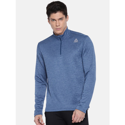 Reebok Men Blue DOUBLE KNIT Solid Sweatshirt