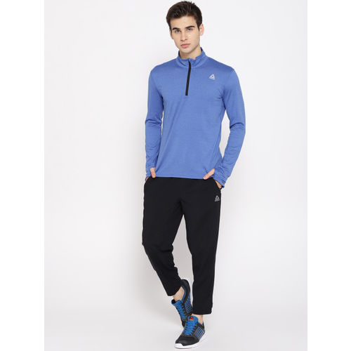 Reebok Men Blue Solid Quarter Zip Running Sweatshirt