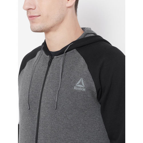 Reebok Men Grey & Black Solid Hooded Sweatshirt