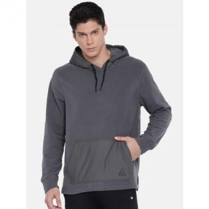 Reebok Men Grey Solid MICRO FLC Hooded Sweatshirt
