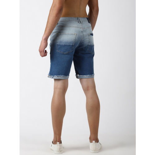 Blue Saint Men Blue Washed Slim Fit Denim Shorts