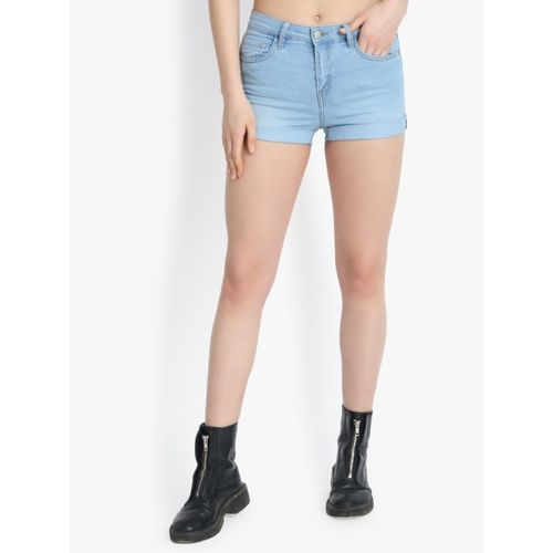Buy Kotty Women S Blue Skinny Fit Denim Shorts Online Looksgud In You'll look cool, contemporary and confident stepping out in a pair of modern jeans shorts featuring luxe denim fabrics, statement hems and flattering fits. looksgud in