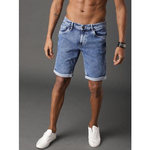 Roadster Men Blue Washed Regular Fit Denim Shorts
