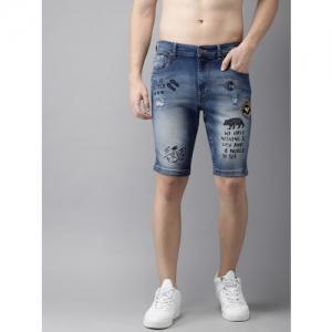 Moda Rapido Men Blue Printed Slim Fit Distressed Shorts