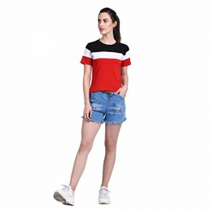 DIMPY GARMENTS BuyNewTrend Blue Drawstring Denim Wash Printed Shorts for Women