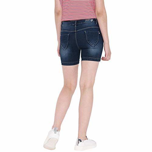 DEVIS Women's Dark Blue Denim Skinny Fit Shorts