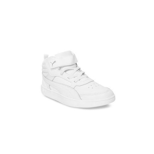 Puma Unisex White Solid Leather Mid-Top Leather Sneakers