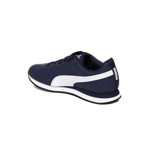 Puma Kids Navy Blue Turin II Jr Leather Sneakers