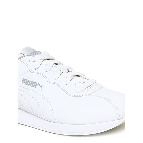 Puma Kids White Turin II Jr Leather Sneakers